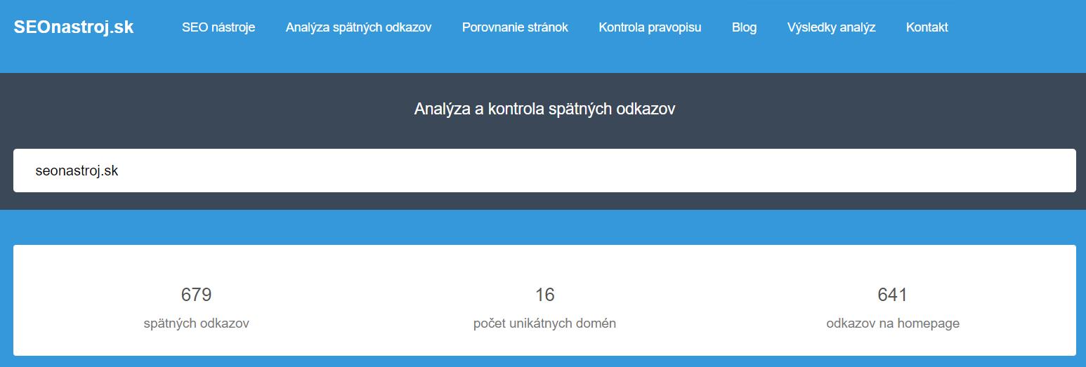 Seonastroj.sk backlink checker - analýza spätných odkazov